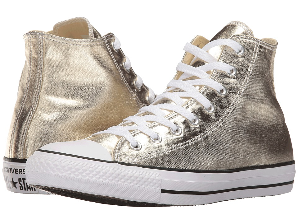 Converse - Chuck Taylor All Star Metallic Canvas Hi (Light Gold/White/Black) Athletic Shoes