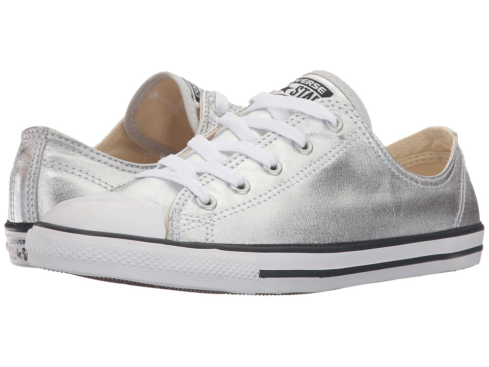 Converse - Chuck Taylor All Star Metallic Leather Dainty Ox (Pure Silver/Black/White) Women's Shoes