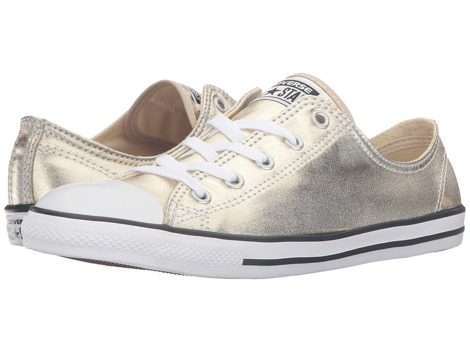 Converse - Chuck Taylor All Star Metallic Leather Dainty Ox (Light Gold/Black/White) Women's Shoes