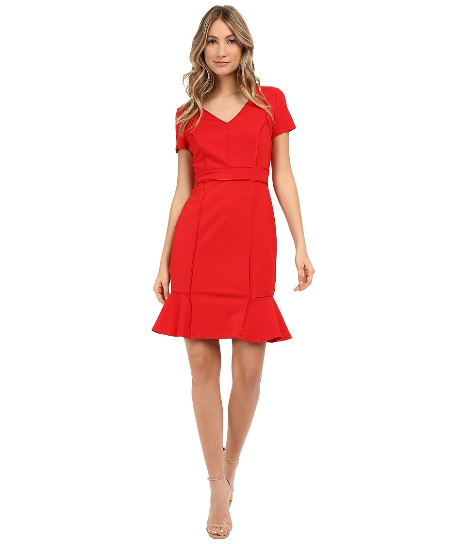 NUE by Shani Ponte Knit Dress w/ Satin Piping Detail (Red) Women