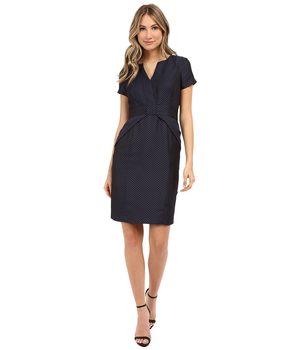 NUE by Shani - Jacquard Dress w/ Waist Inset Detail (Navy) Women's Dress