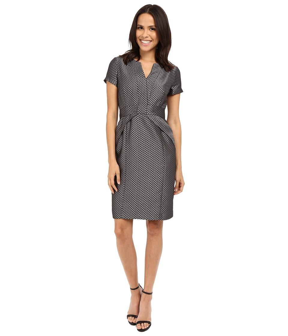 NUE by Shani Jacquard Dress w/ Waist Inset Detail (Black/Silver) Women