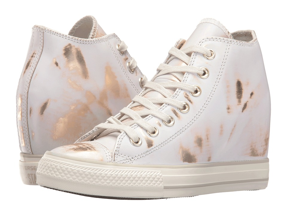 Converse Chuck Taylor All Star Lux Brush-Off Leather Mid (Buff/Light Gold/Buff) Women
