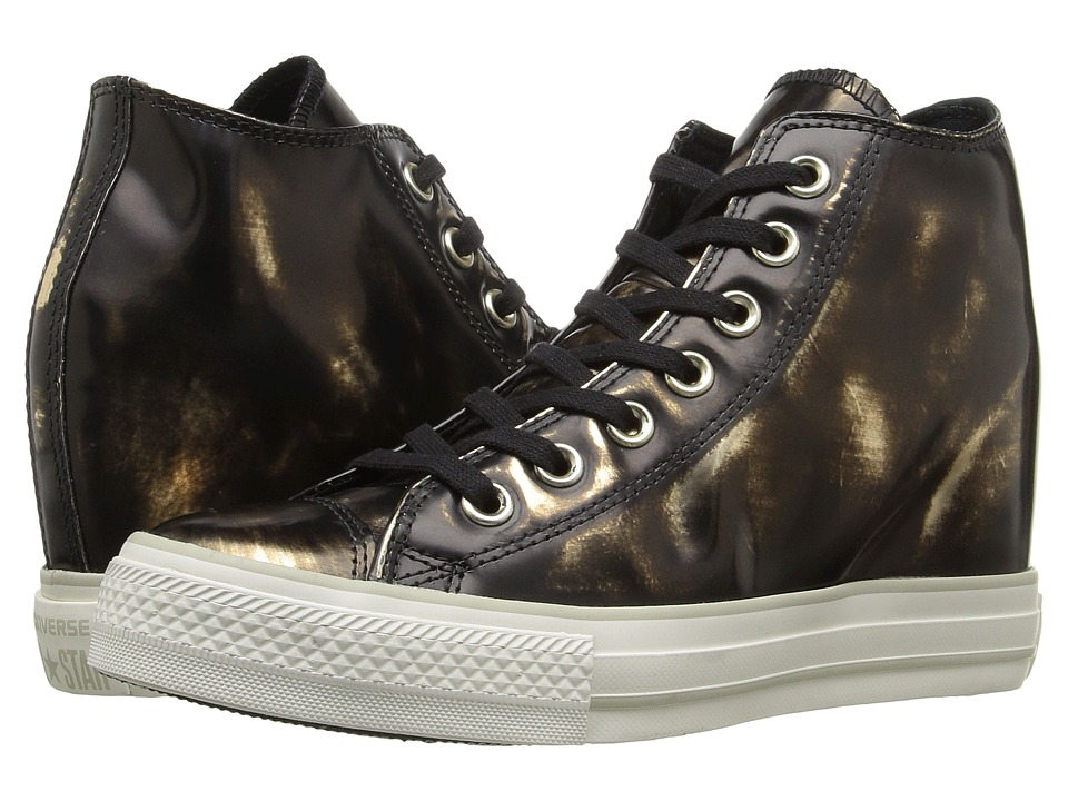 Converse - Chuck Taylor All Star Lux Brush-Off Leather Mid (Black/Metallic Gunmetal/Black) Women's Shoes