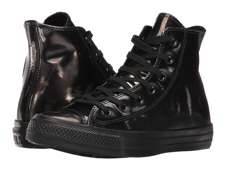 Converse - Chuck Taylor All Star Brush-Off Leather Hi (Black/Metallic Gunmetal/Black) Women's Shoes