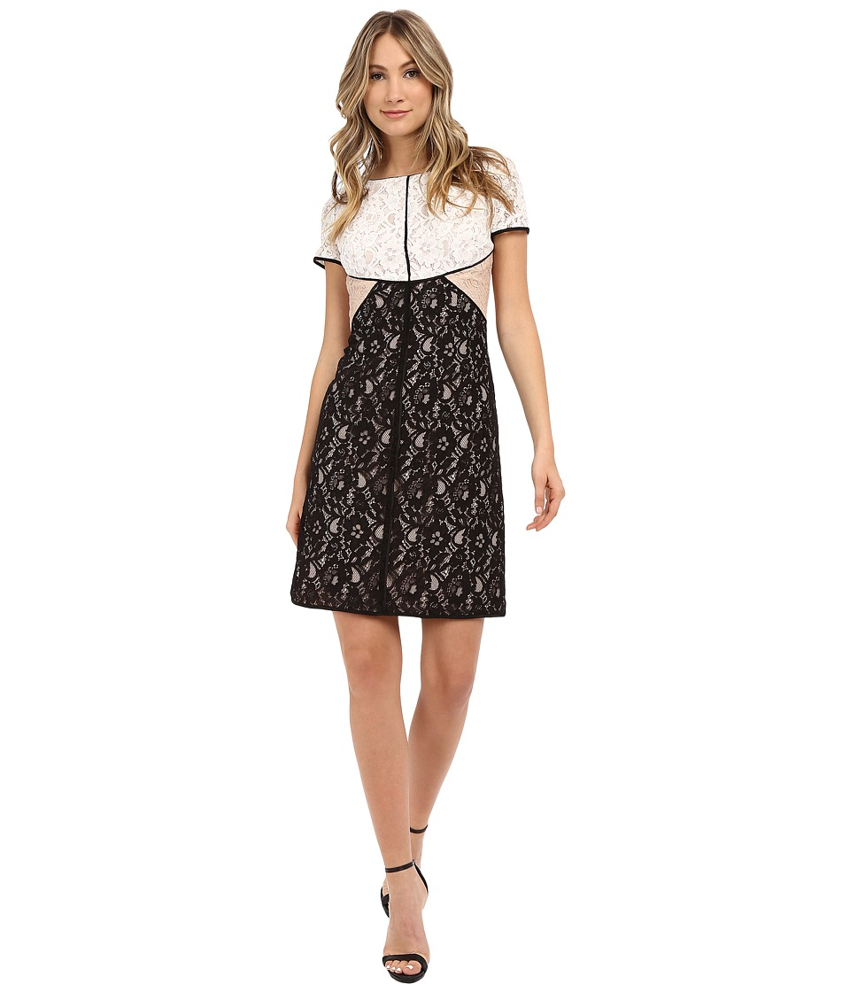 NUE by Shani A-Line Color Blocking Lace Dress w/ Piping Detail (Black/Ivory) Women