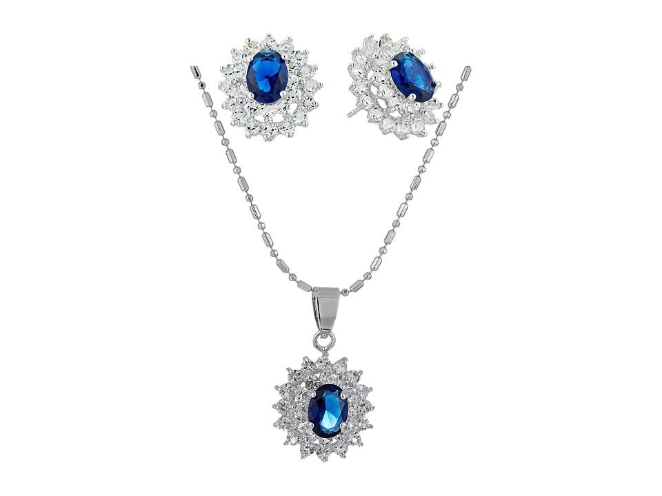 Nina - CZ/Sapphire Cluster Set (Rhodium/CZ) Jewelry Sets
