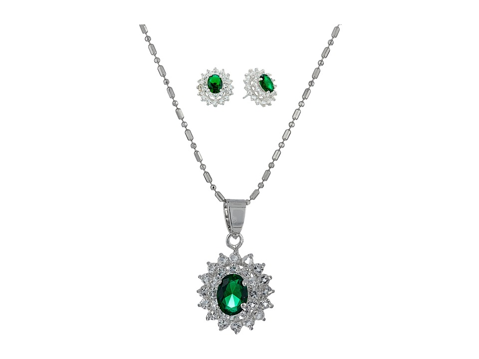 Nina - CZ/Emerald Cluster Set (Rhodium/CZ) Jewelry Sets