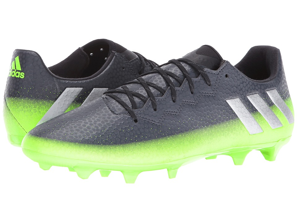 adidas - Messi 16.3 FG (Dark Grey/Silver Metallic/Solar Green) Men's Cleated Shoes