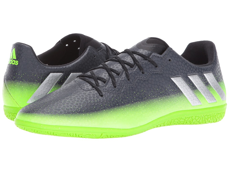 adidas - Messi 16.3 IN (Dark Grey/Silver Metallic/Solar Green) Men's Soccer Shoes