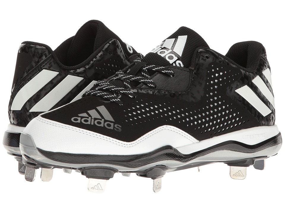 adidas - PowerAlley 4 (Black/White/Silver Metallic) Women's Cleated Shoes