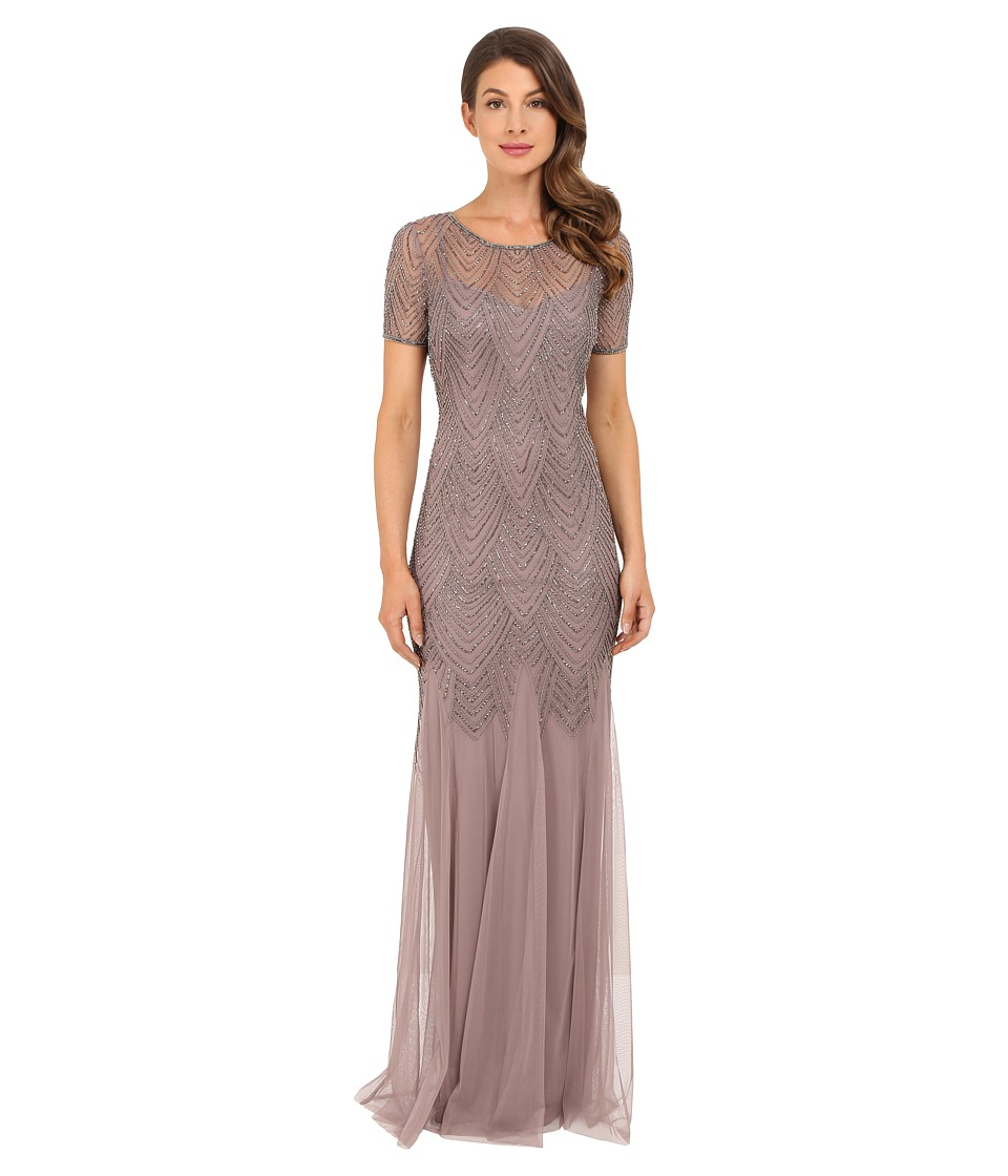 Adrianna Papell - Short Sleeve Beaded Gown (Stone) Women's Dress