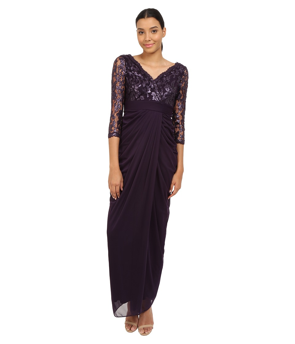 Adrianna Papell - 3/4 Sleeve V-Neck Combo Gown (Aubergine) Women's Dress