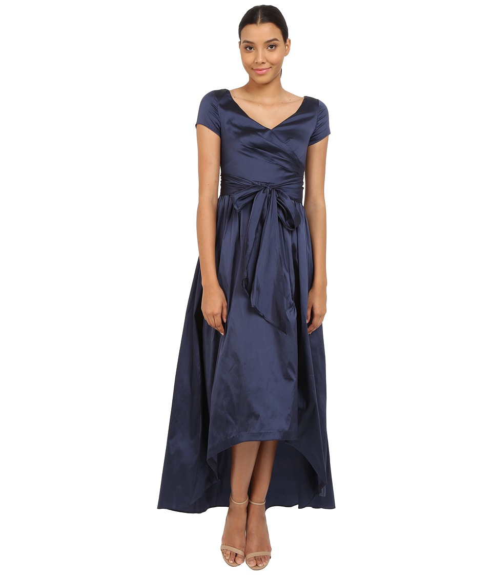 Adrianna Papell - Shirred Taffeta High-Low Gown (Navy) Women's Dress