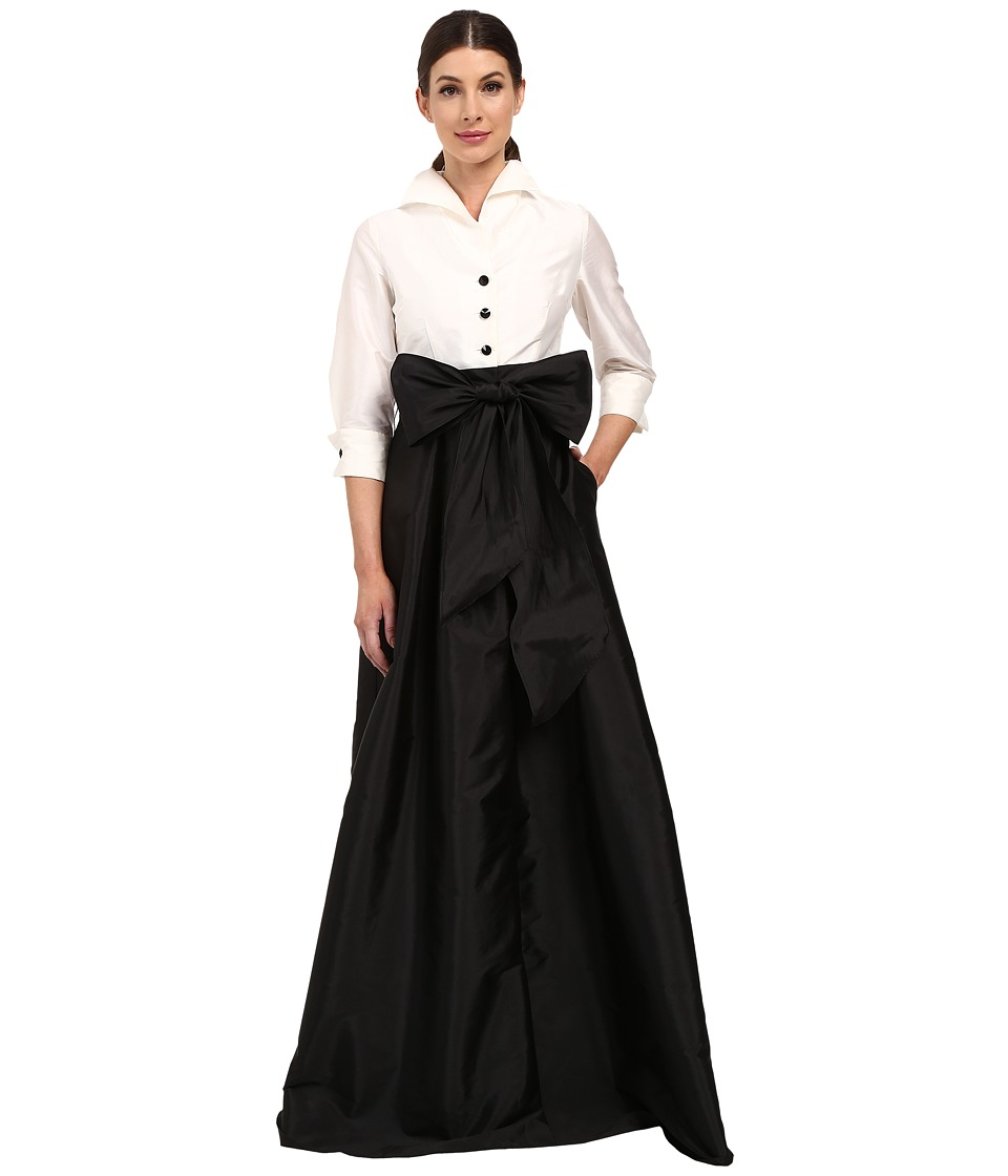 Adrianna Papell - Blouse High-Low Taffeta Gown (Ivory/Black) Women's Dress