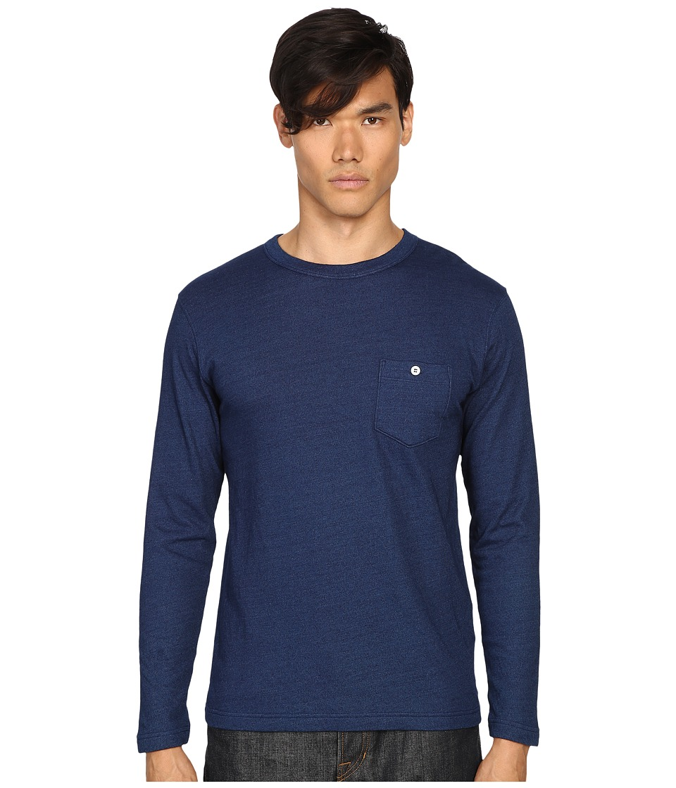 Todd Snyder - Double Face Jersey Long Sleeve (Indigo) Men's T Shirt