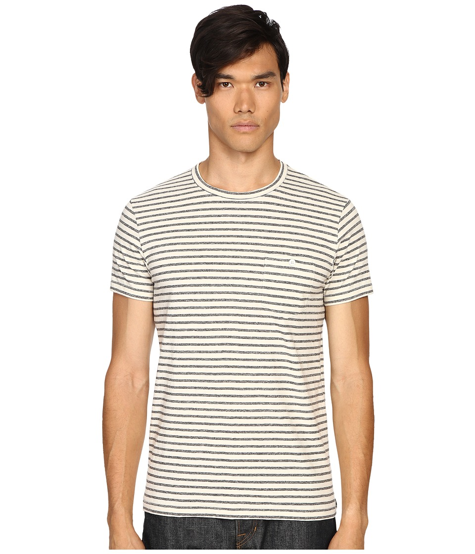 Todd Snyder - Striped Weathered Button Pocket Crew Tee (White) Men's T Shirt