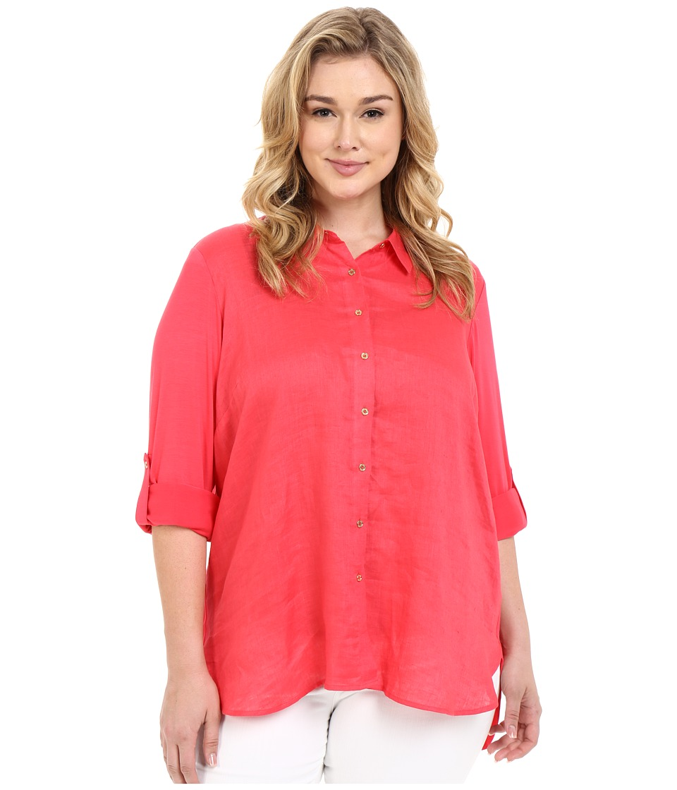 Calvin Klein Plus - Plus Size Linen/Knit Combo Tunic (Watermelon) Women's Blouse