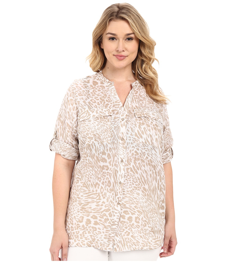 Calvin Klein Plus - Plus Size Printed Linen Roll Sleeve (Neutral/Latte) Women's Blouse