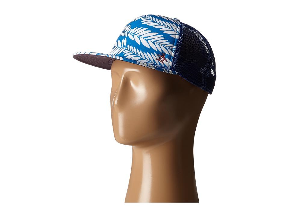 Original Penguin - Palm Print Flat Visor Baseball Cap (Directorie Blue) Baseball Caps