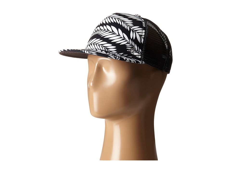 Original Penguin - Palm Print Flat Visor Baseball Cap (True Black) Baseball Caps