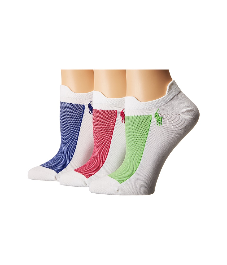 LAUREN Ralph Lauren - Double Tab Micro Contrast Mesh Low Cut 3-Pack (White Royal) Women's Crew Cut Socks Shoes