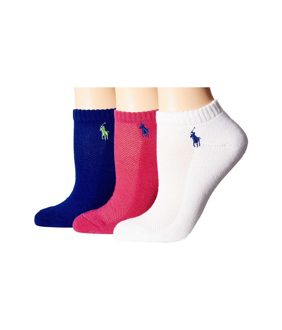 LAUREN Ralph Lauren - Cushion Foot Mesh Top Cotton Low Cut 3 Pack (Pink) Women's Low Cut Socks Shoes