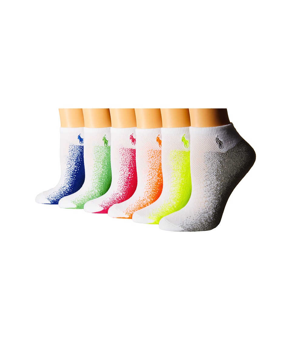 LAUREN Ralph Lauren - Diamond Mesh Top Low Cut 6-Pack with Gradient Sole Sole (White) Women's Quarter Length Socks Shoes