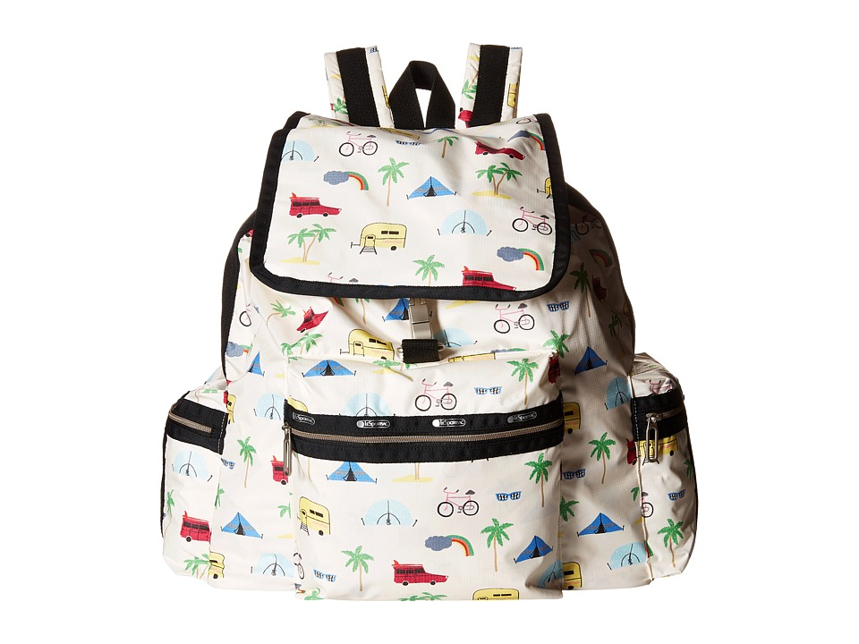 LeSportsac - 3-Zip Voyager (Roadtrip Vaca Cream) Handbags