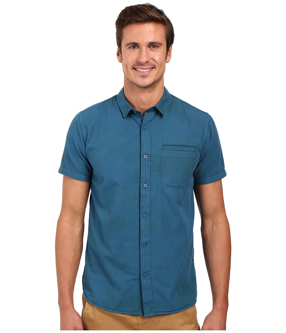 Tavik - Porter Short Sleeve Woven Shirt (Blue) Men's Clothing