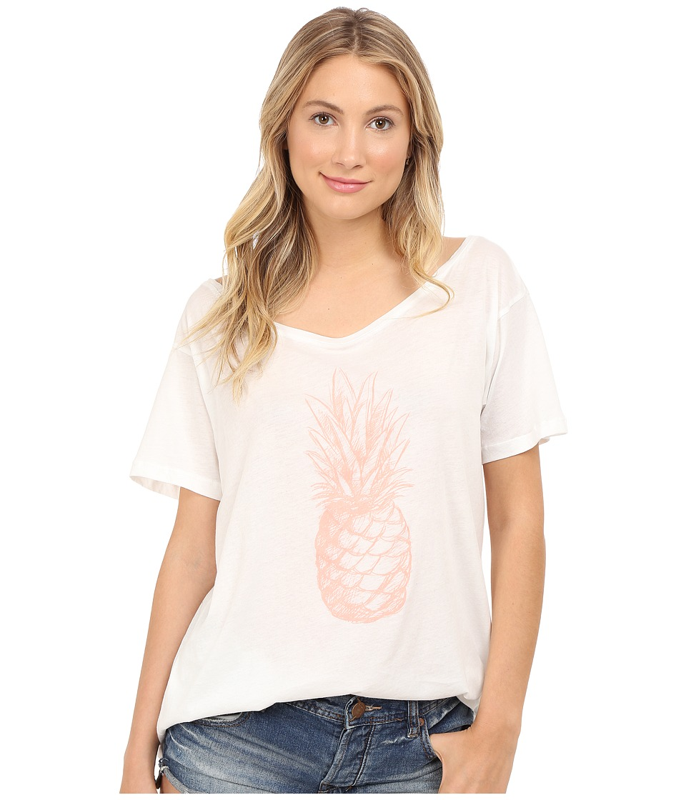 Clayton - Pineapple Wide Neck Tee (White) Women's T Shirt