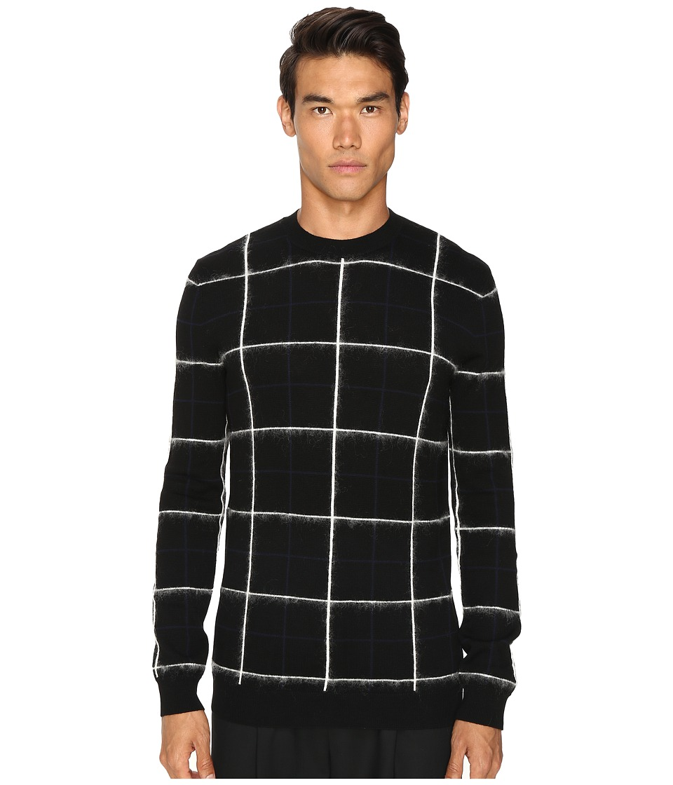 McQ - Brush Stripe Grid (Darkest Black) Men's Long Sleeve Pullover