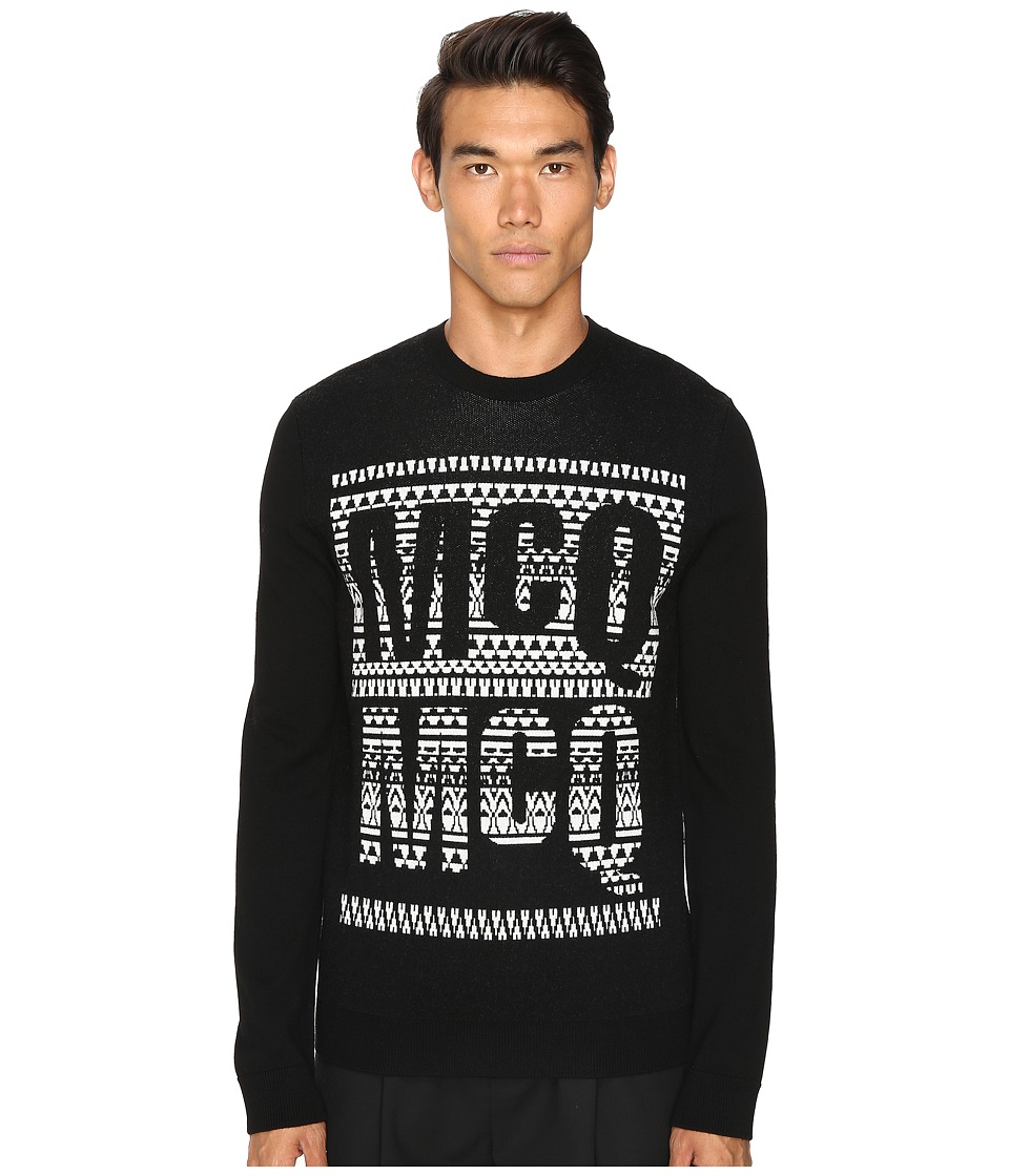 McQ - Fair Isle Crew Neck (Darkest Black) Men's Long Sleeve Pullover