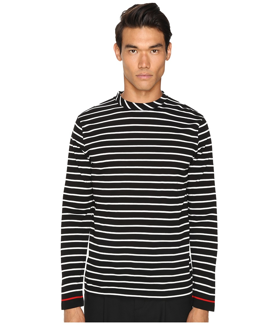 McQ - Long Sleeve Crew Tee (Stripe White/Black) Men's T Shirt