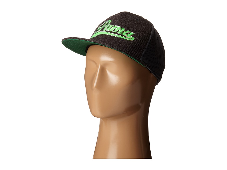 PUMA Golf Kids - Script Snapback Cap (Big Kids) (Dark Grey Heather/Green Gecko) Caps