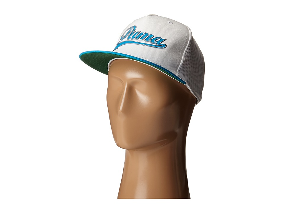 PUMA Golf Kids - Script Snapback Cap (Big Kids) (White/Atomic Blue) Caps
