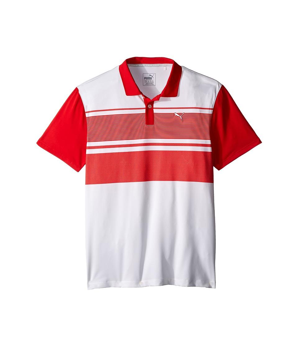 PUMA Golf Kids - Pattern Block Polo JR (Big Kids) (High Risk Red) Boy's Clothing