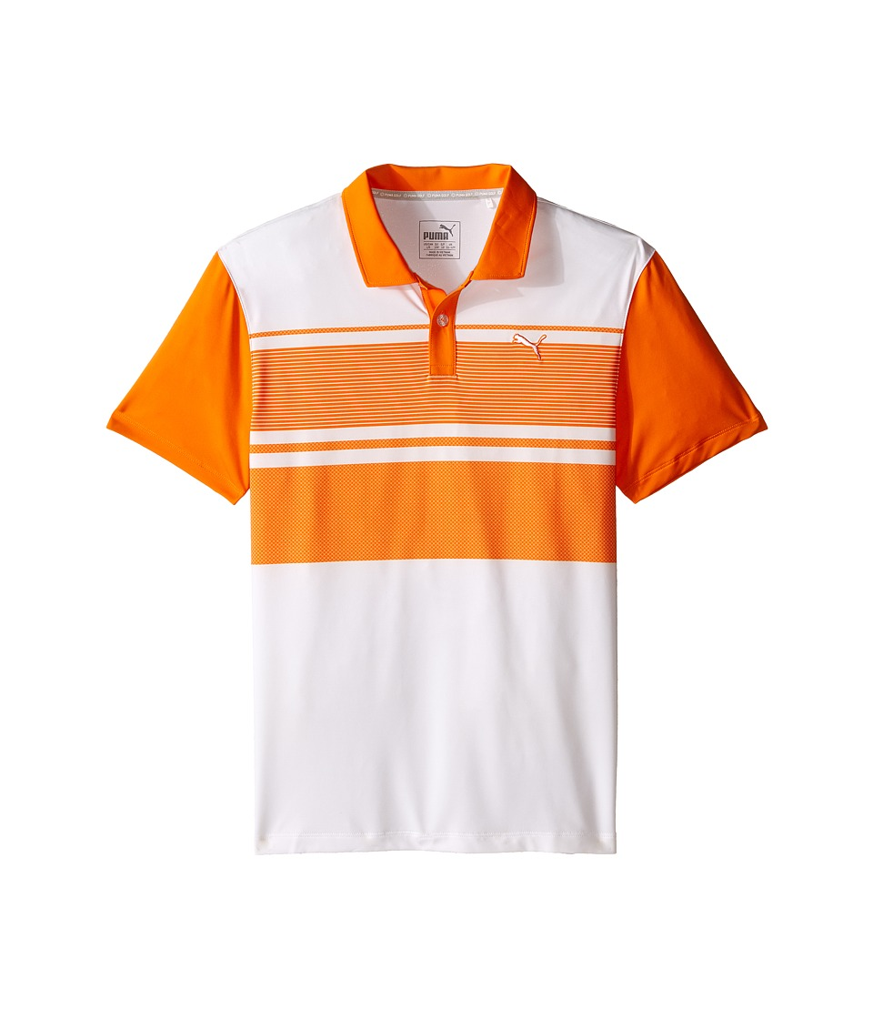 PUMA Golf Kids - Pattern Block Polo JR (Big Kids) (Vibrant Orange) Boy's Clothing