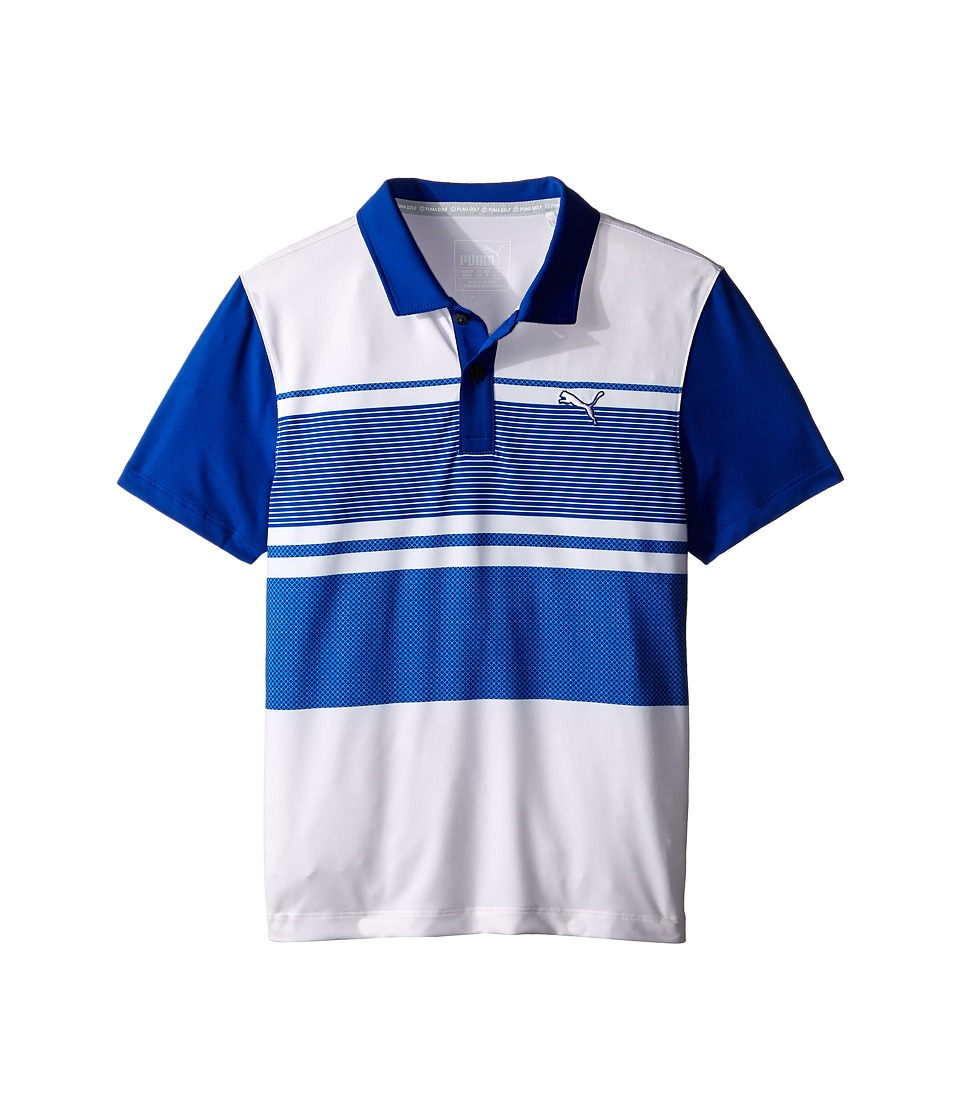 PUMA Golf Kids - Pattern Block Polo JR (Big Kids) (Surf the Web) Boy's Clothing