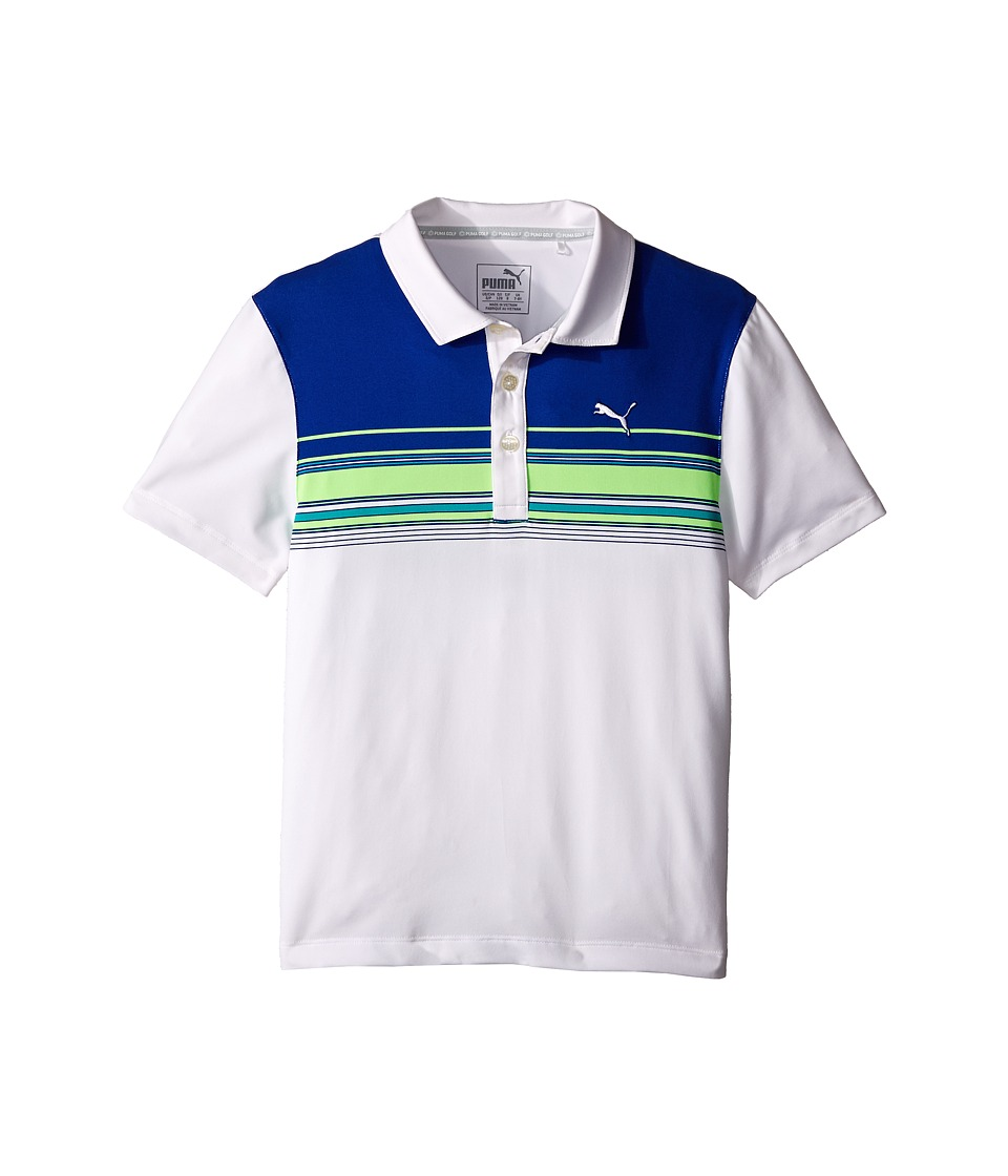 PUMA Golf Kids - Key Stripe Polo JR (Big Kids) (Bright White) Boy's Clothing