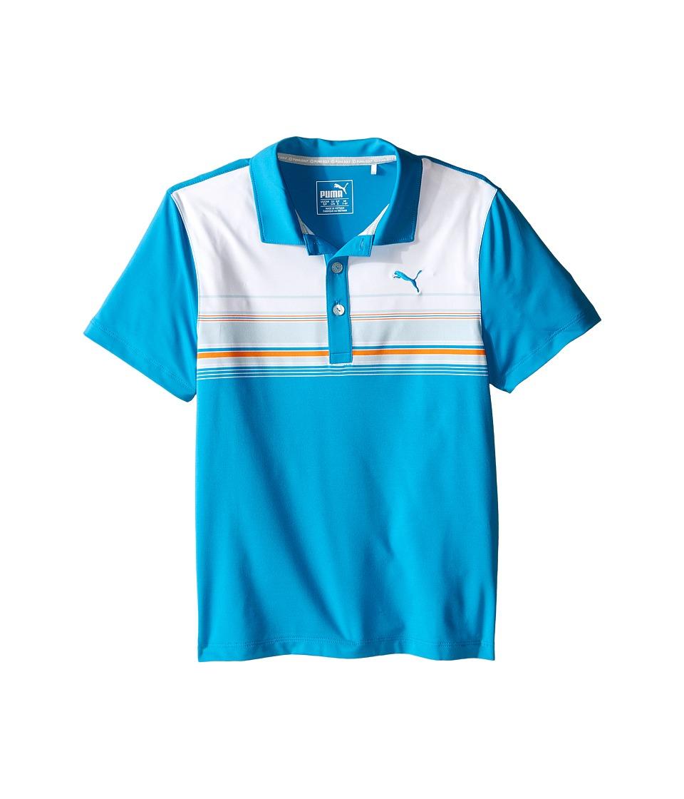 PUMA Golf Kids - Key Stripe Polo JR (Big Kids) (Atomic Blue) Boy's Clothing