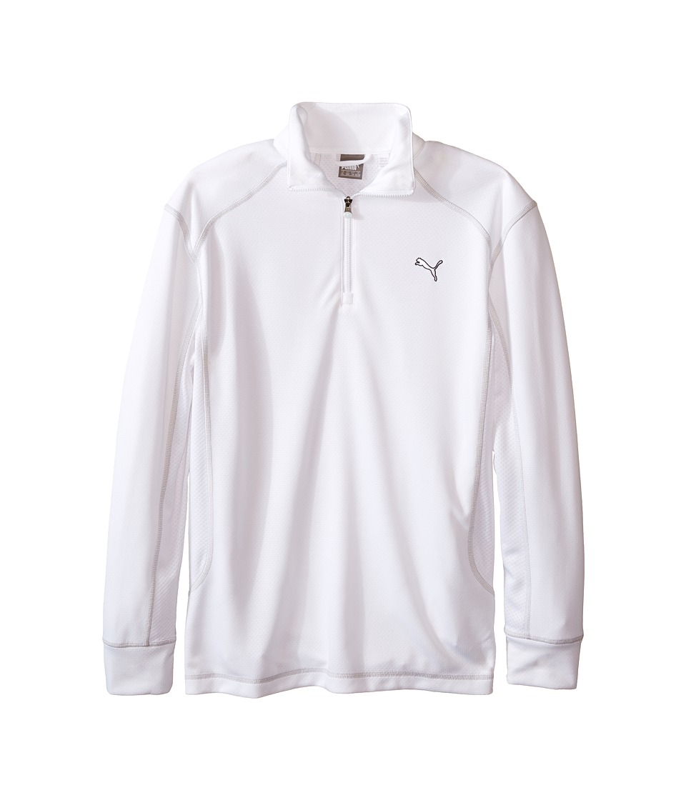 PUMA Golf Kids - Golf L/S 1/4 Zip Top (Big Kids) (Bright White) Boy's Long Sleeve Pullover