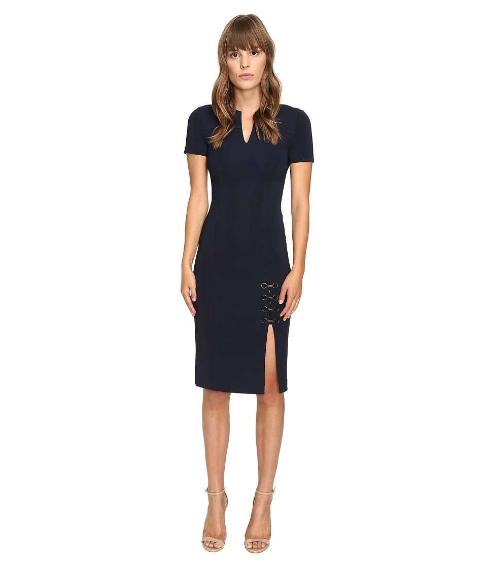 YIGAL AZROUEL Short Sleeve Dress w/ Eyelet Lacing Detail (Midnight) Women