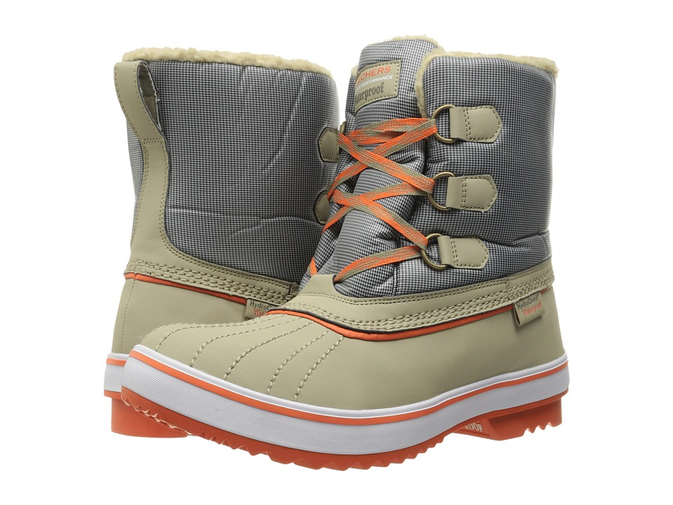 BOBS from SKECHERS - Highlanders - Polar Bear (Taupe/Orange) Women's Boots