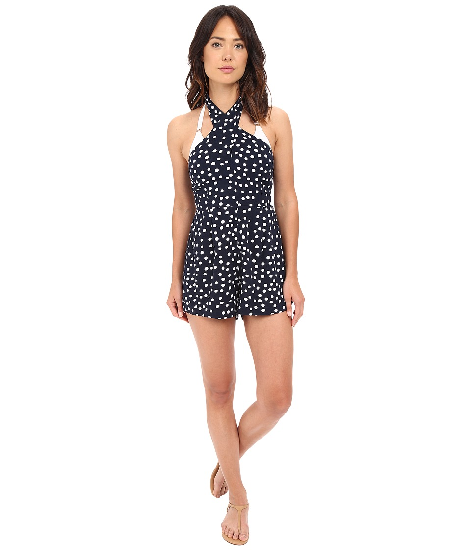 Seafolly - Spot On X My Heart Playsuit Cover-Up (Indigo) Women's Swimsuits One Piece
