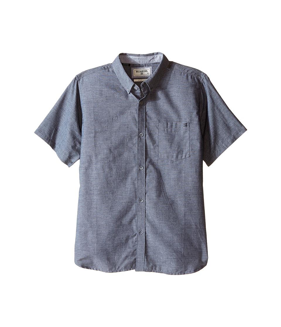 Billabong Kids - All Day Chambray Woven Top (Big Kids) (Black) Boy's Short Sleeve Button Up