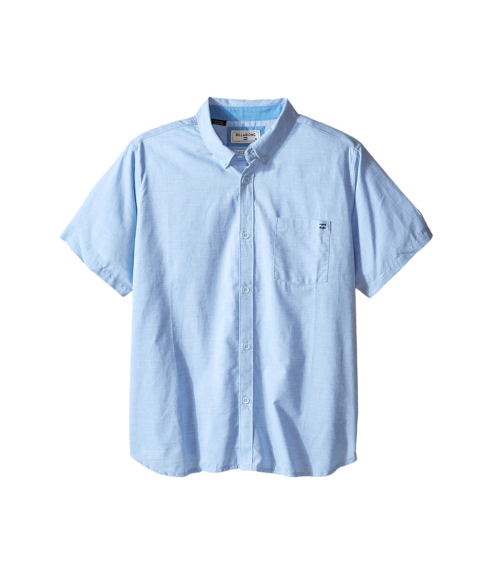 Billabong Kids - All Day Chambray Woven Top (Big Kids) (Light Blue) Boy's Short Sleeve Button Up