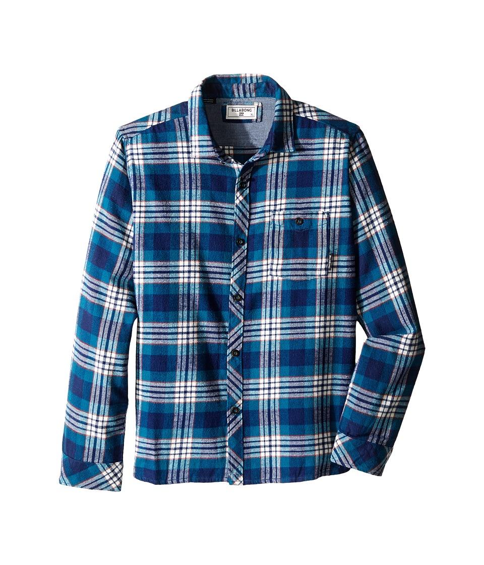 Billabong Kids - Jackson Flannel Long Sleeve Shirt (Big Kids) (Navy) Boy's Long Sleeve Button Up