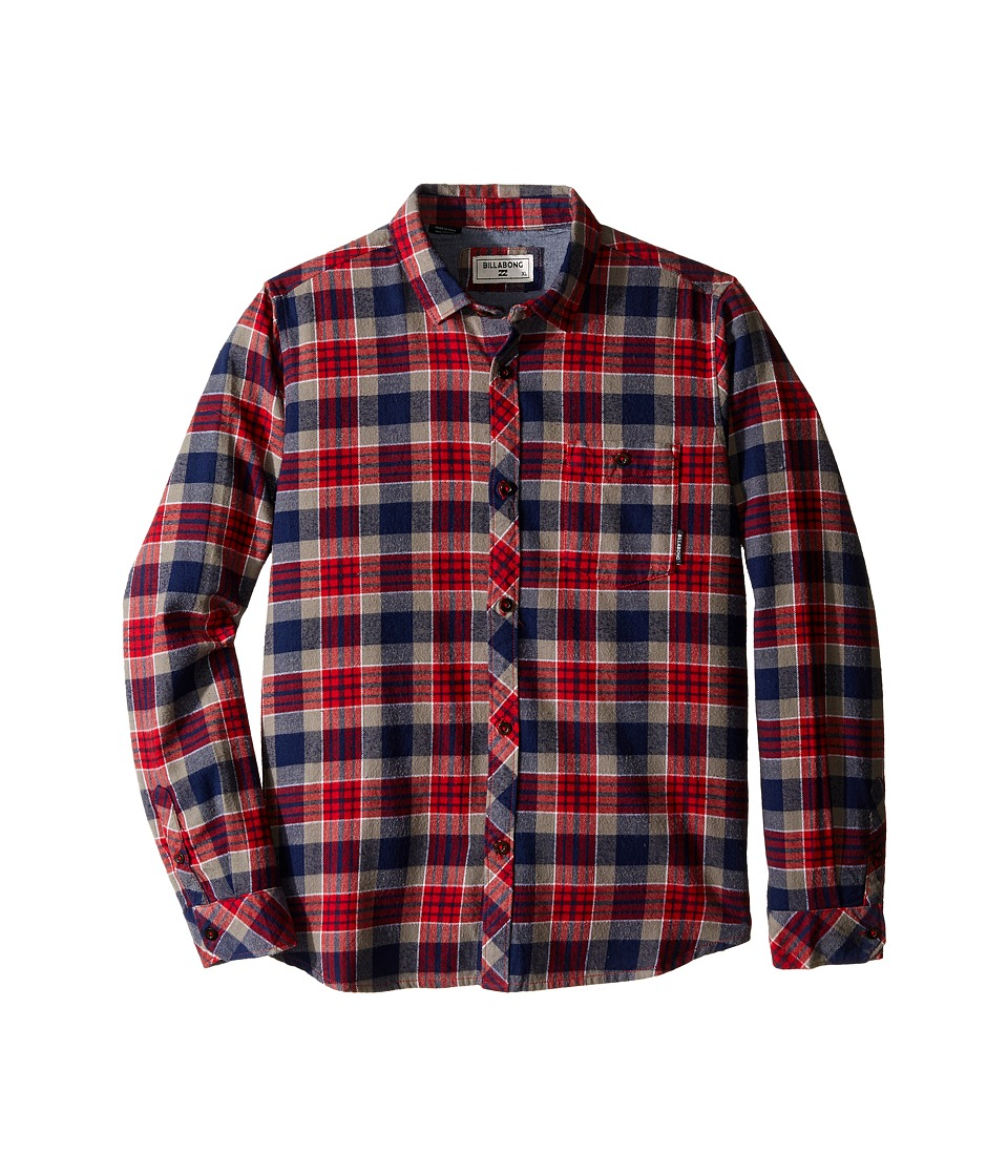 Billabong Kids - Jackson Flannel Long Sleeve Shirt (Big Kids) (Red) Boy's Long Sleeve Button Up