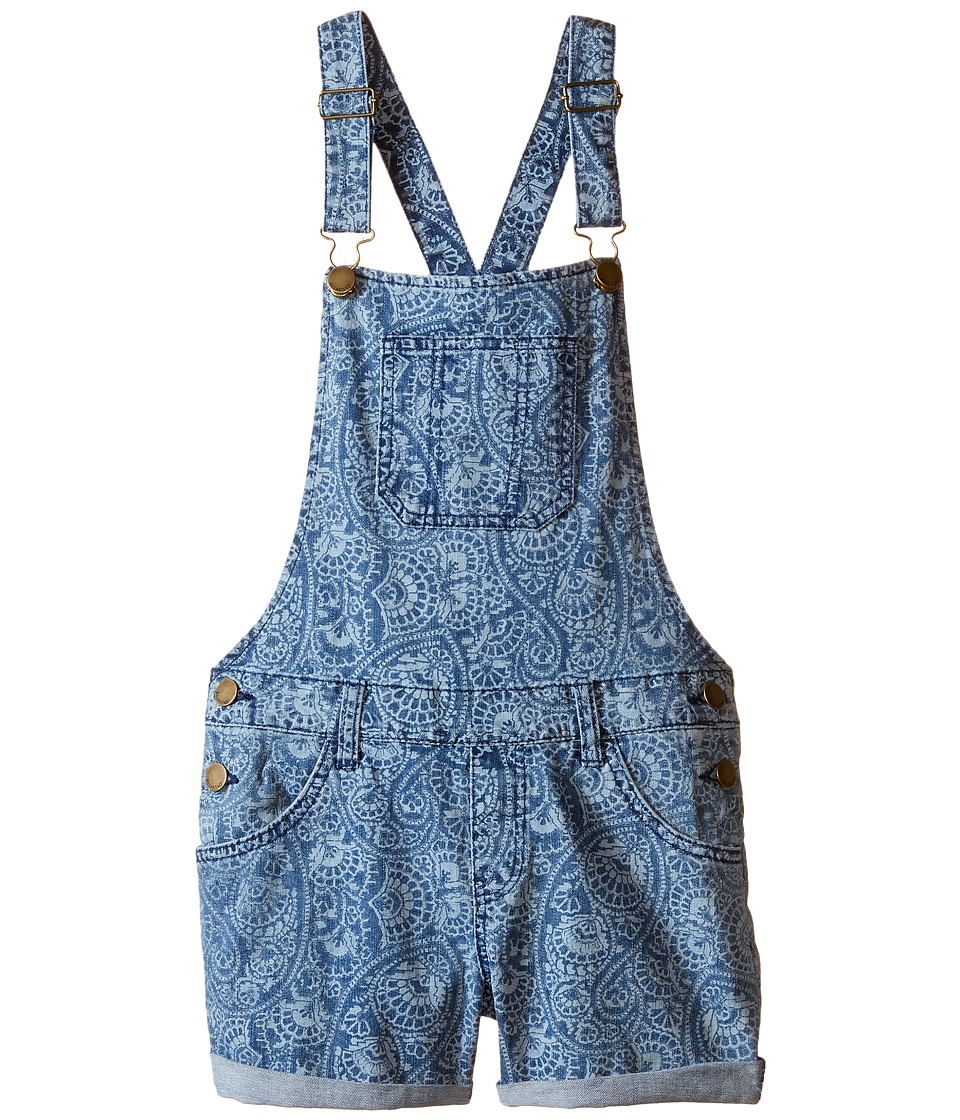 Billabong Kids - Right Around Overall Shorts (Little Kids/Big Kids) (Coastal Blue) Girl's Overalls One Piece